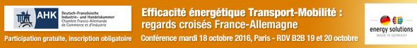 Efficacité énergétique Transport-Mobilité les 19 et 20 octobre à Paris